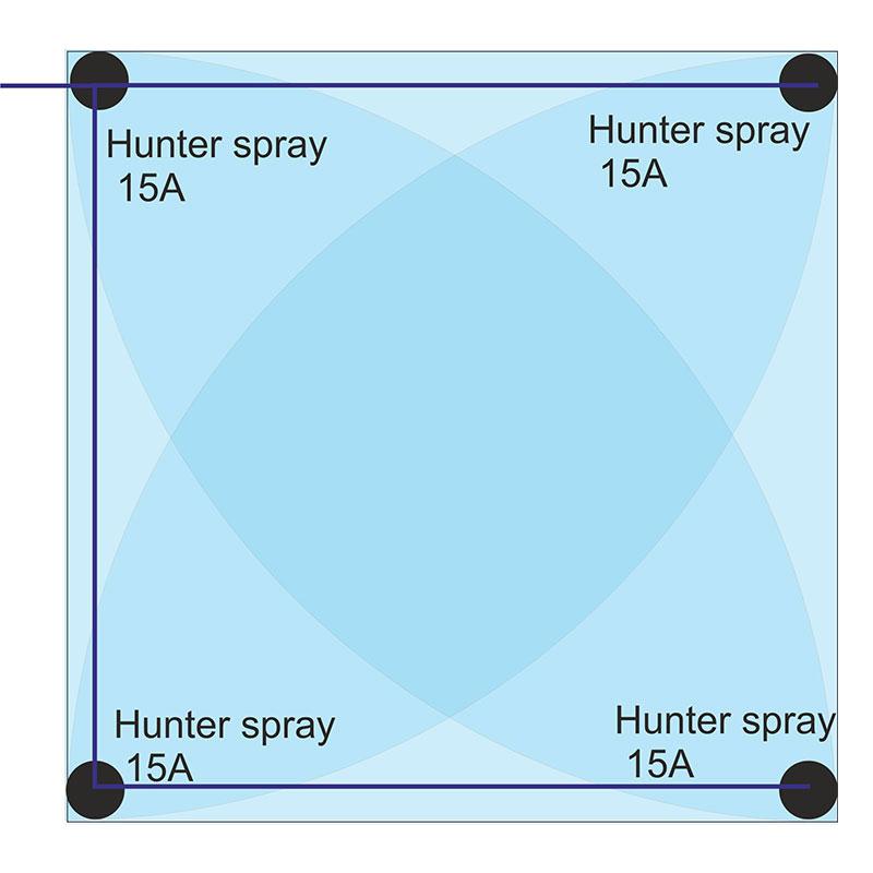 Spray szórófejes öntözés 4,5 m x 4,5 m területre
