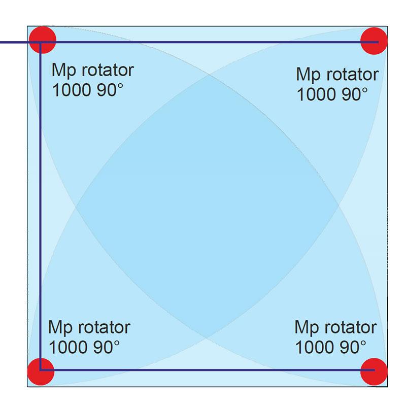 MP rotátor szórófejes öntözés 4 m x 4 m területre
